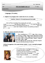English Worksheet: full term test n1