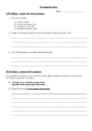 English Worksheet: Test about The Road Not Taken