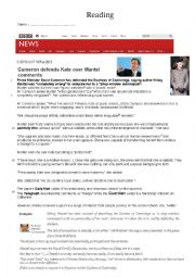 English Worksheet: Cameron defends Kate over Mantel�s comments