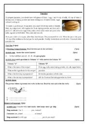 English Worksheet: To prepare pancakes