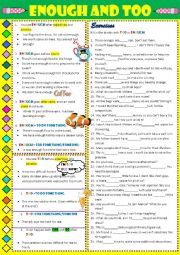 English Worksheet: ENOUGH and TOO - explanations and exercises