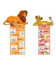 English Worksheet: BOOKMARKS - clothes, body parts, weather, toys