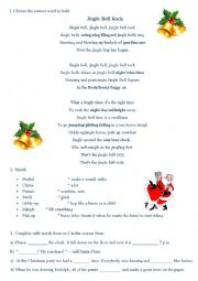 English Worksheet: Jingle Bells Rock - fill the gaps activity