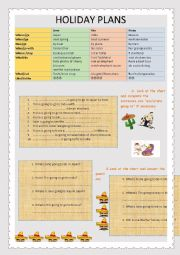 English Worksheet: Holiday Plans with be going to