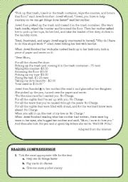 English Worksheet: READING COMPREHENSION TEST ON SHARING HOUSEHOLD CHORES