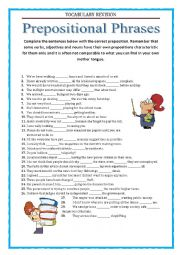 Vocabulary Revision 9 - prepositional phrases
