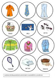 English Worksheet: Clothes Pronunciation Game - Words that Rhyme with (1/4)