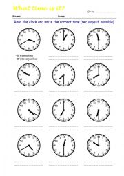 What Time Is It? Read the clock and write the correct time 4/4 - ESL ...