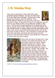 English worksheet: Saint Nicholas - comprehension and past simple
