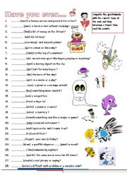 English Worksheet: Have you ever..