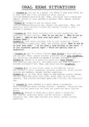 English Worksheet: DIALOGUE SITUATIONS FOR ORAL EXAM - ELEMENTARY LEVEL