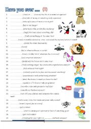 English Worksheet: Have you ever ......student B