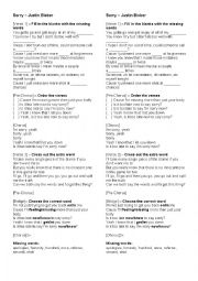 English Worksheet: Sorry- Justin Bieber