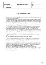 English Worksheet: what a mysterious dream! end-of-term test 1st form