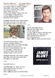 English Worksheet: SONG �Bonfire Hearts� by James Blunt