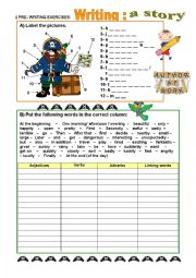 English Worksheet: Story-writing - PRE_WRITING activities