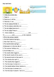 English Worksheet: Days and Dates
