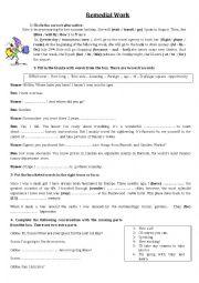 English Worksheet: Remedial Work 1