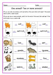 Single and plural nouns - a or an - s or es -