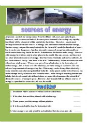 sources of energy reading