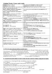 English Worksheet: linking words: cause and results