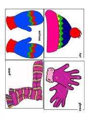 English Worksheet: Winter clothes flashcards