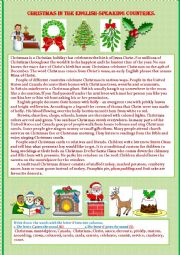 English Worksheet: Christmas in the English-speaking countries.