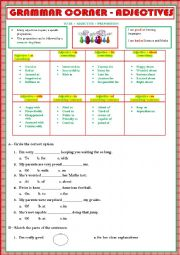 English Worksheet: GRAMMAR - ADJECTIVES + PREPOSITIONS