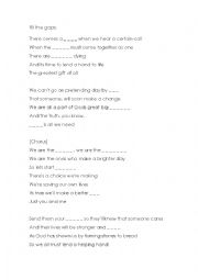 English Worksheet: Complete Song We are the world