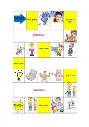 English Worksheet: Adjectives board game