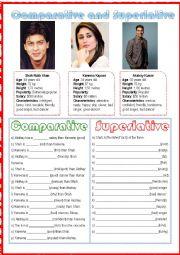 English Worksheet: Bollywood and comparatives