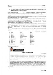 English Worksheet: Written test: on animal experimentation - bioethics