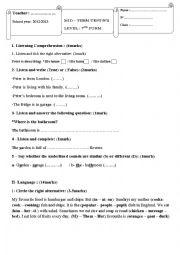 English Worksheet: mid term test N�2 7th form Tunisia