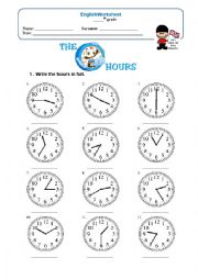 English Worksheet: Hours