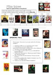 English Worksheet: Films: types of films, speaking exercise + writing a review (useful language+task)
