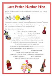 English Worksheet: Love Potion Number 9 Song for Valentine´s Day