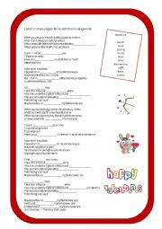 English Worksheet: Thinking Out Loud - Valentines� Song