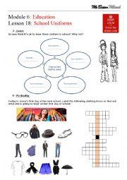 English Worksheet: School Uniforms - Reading