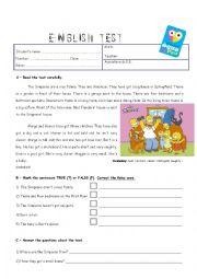 English Worksheet: Test- comprehension/degree of adjectives/ prep.place