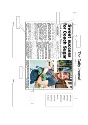 English Worksheet: Parts of the newspaper article