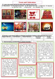 English Worksheet: Celebrations and feasts