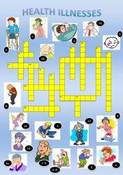 English Worksheet: Illnesses & injuries crosswords