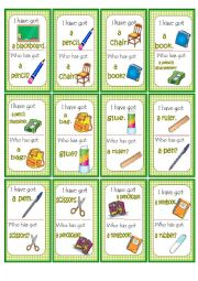 English Worksheet: School Objects Loop Game