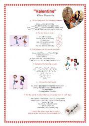 English Worksheet: Song: Valentine - Kina Grannis