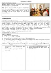 English Worksheet: Classroom debate about community service