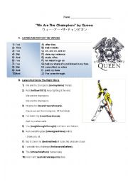 English Worksheet: Queen We are the Champions Listening Challenge