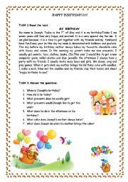 English Worksheet: Happy Birthday!