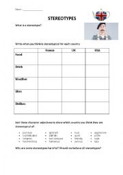 English Worksheet: Stereotypes - The Good the Bad and the Ugly