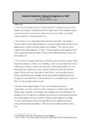 English Worksheet: internet addiction text