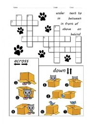 Prepositions Crossword - Cat in the Box